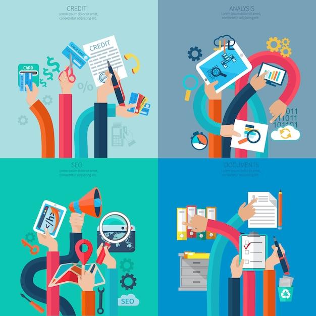 Concetto di credito e analisi di seo con le mani umane che tengono gli oggetti business Vettore gratuito
