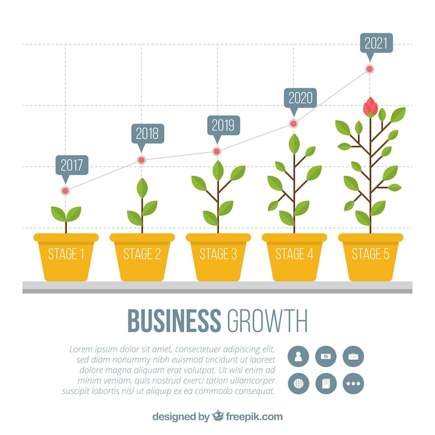 Concetto di crescita del business con cinque piante Vettore gratuito
