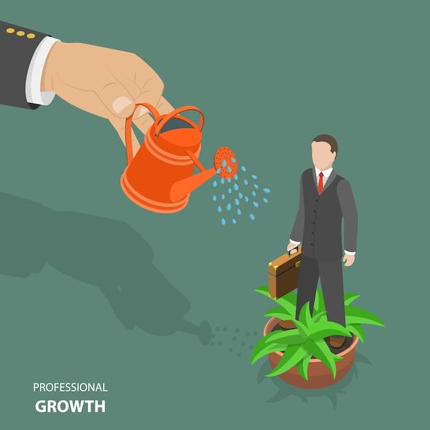 Concetto di crescita professionale piatta isometrica poli basso vettore. Vettore Premium