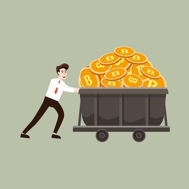 Concetto di criptovaluta con minatore e monete di uomo d'affari. uomo d'affari tira un carrello pieno di contanti bitcoin mio, stile cartone animato Vettore Premium