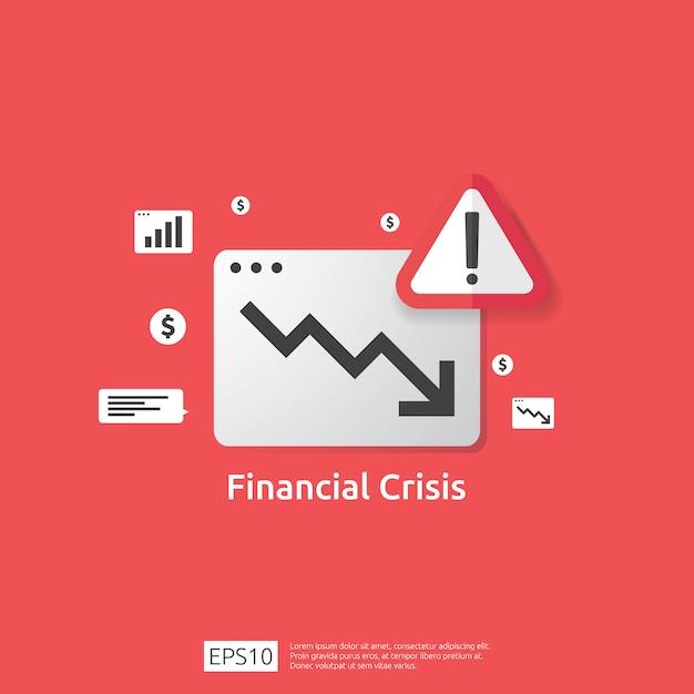 Concetto di crisi delle finanze di affari con il punto esclamativo attento. il grafico dei soldi cade simbolo. la freccia diminuisce l'economia allungando la caduta crescente. declino fallito perso. riduzione dei costi. perdita di reddito Vettore Premium