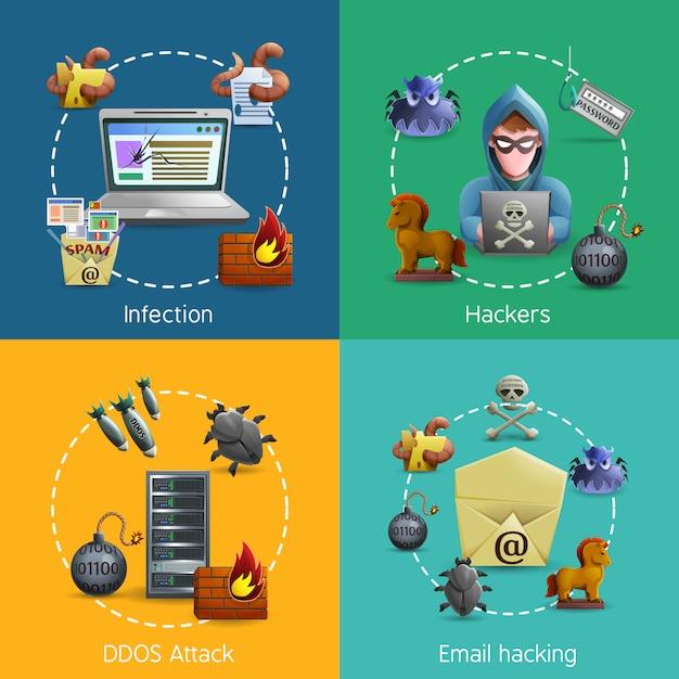 Concetto di cyber attacco icone hacker Vettore gratuito