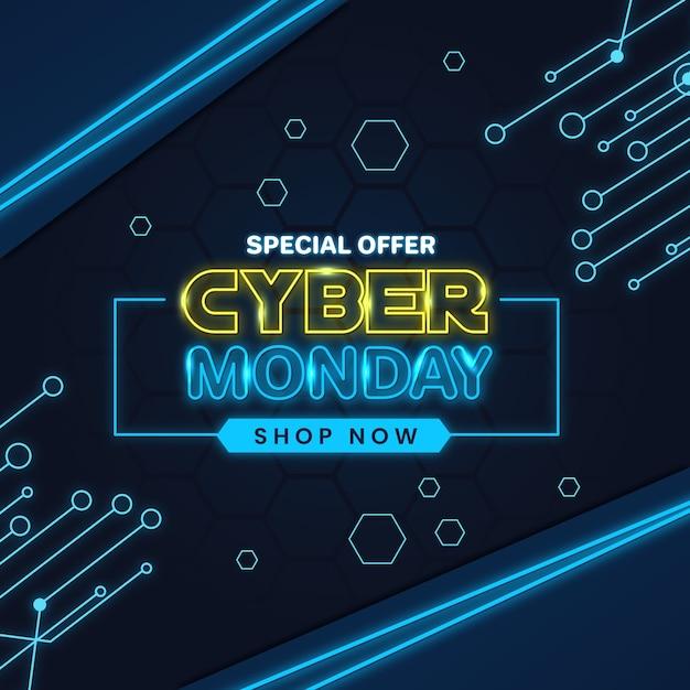 Concetto di cyber lunedì con design al neon Vettore gratuito