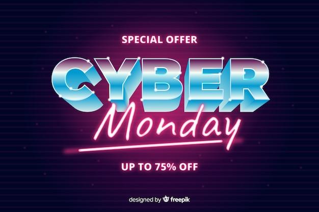 Concetto di cyber lunedì con stile futuristico retrò Vettore gratuito