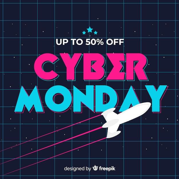 Concetto di cyber lunedì in design piatto Vettore gratuito