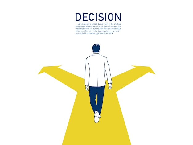 Concetto di decisione aziendale. Vettore Premium