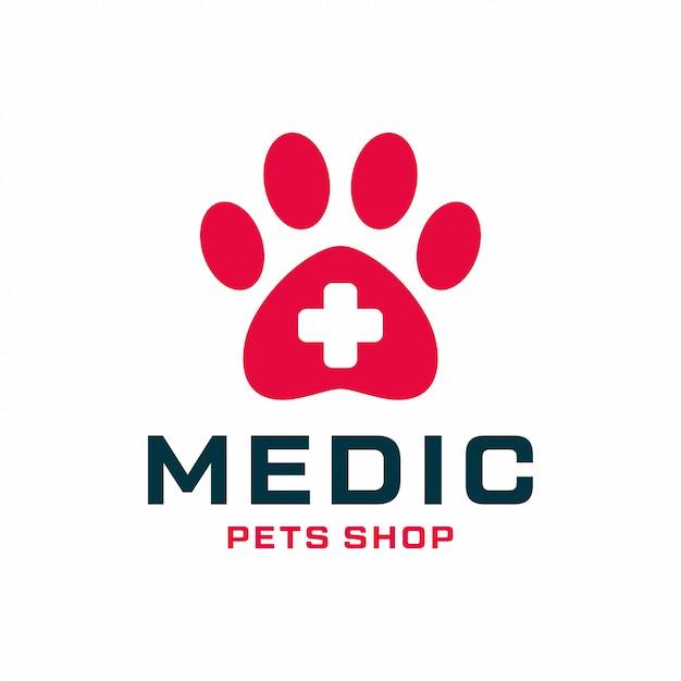 Concetto di design del logo negozio di animali. logo medico universale per animali domestici. Vettore Premium