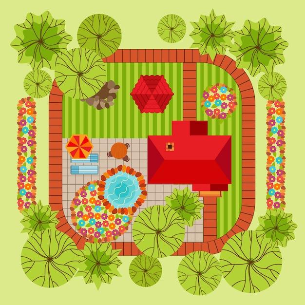 Concetto di design del paesaggio stile piano Vettore gratuito