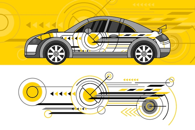 Concetto di design dell'involucro dell'automobile Vettore gratuito