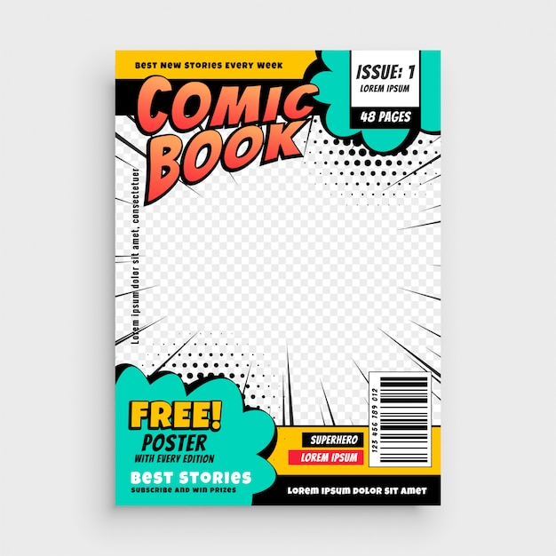 Concetto di design della copertina della pagina del libro di fumetti Vettore gratuito