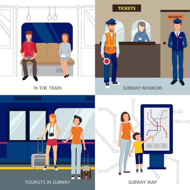 Concetto di design della metropolitana con lavoratori e turisti Vettore gratuito