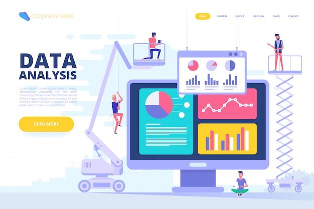 Concetto di design di analisi dei dati. illustrazione vettoriale Vettore Premium