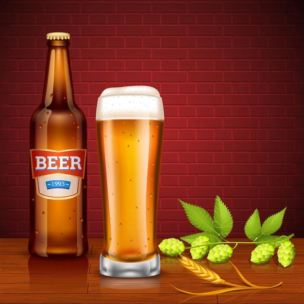 Concetto di design di birra con bottiglia e vetro Vettore gratuito