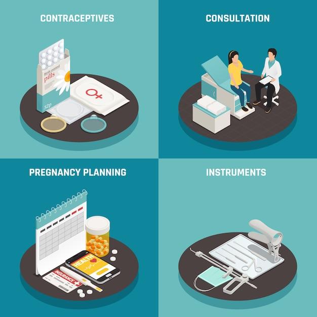 Concetto di design di ginecologia isometrica Vettore gratuito