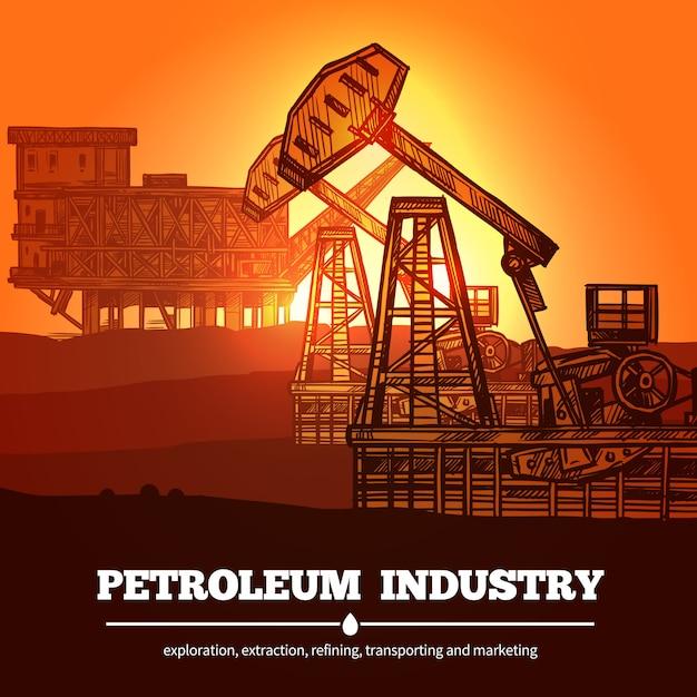 Concetto di design di industria petrolifera Vettore gratuito
