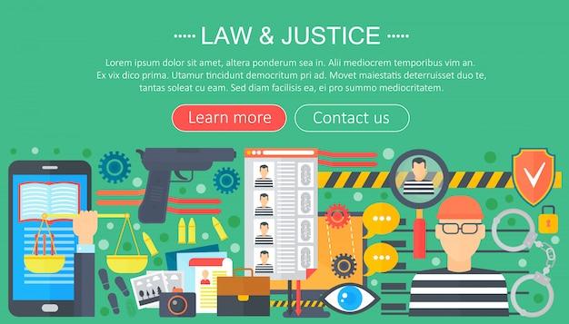 Concetto di design di legge e giustizia con modello infografica prigioniero e pistola Vettore Premium