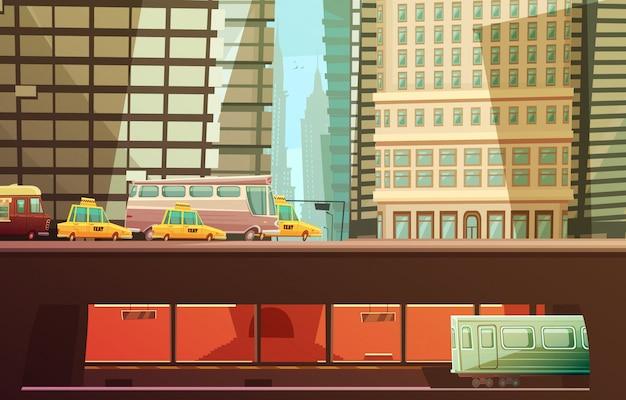 Concetto di design di new york city con grattacieli e trasporto urbano, così come transp municipali di taxi gialli Vettore gratuito