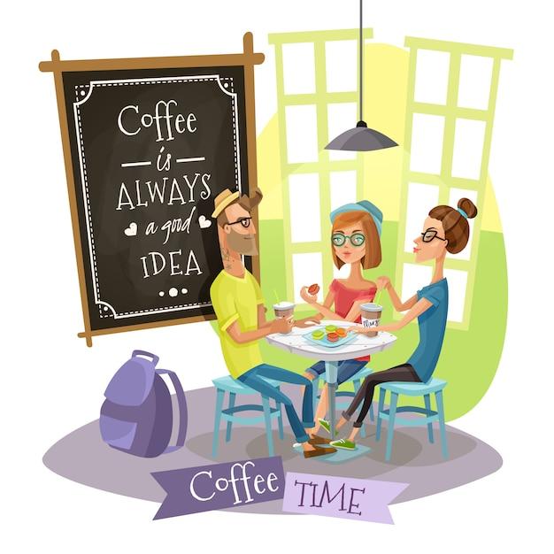 Concetto di design di tempo del caffè con pantaloni a vita bassa Vettore gratuito