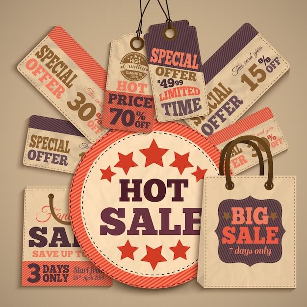 Concetto di design di vendita di cartone Vettore gratuito