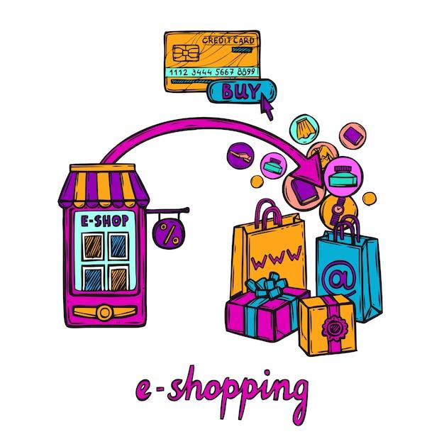 Concetto di design e-commerce Vettore gratuito