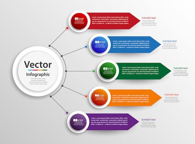 Concetto di design infografica con passaggi Vettore Premium