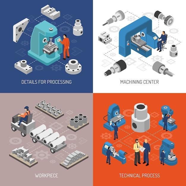 Concetto di design isometrico di industria pesante Vettore gratuito