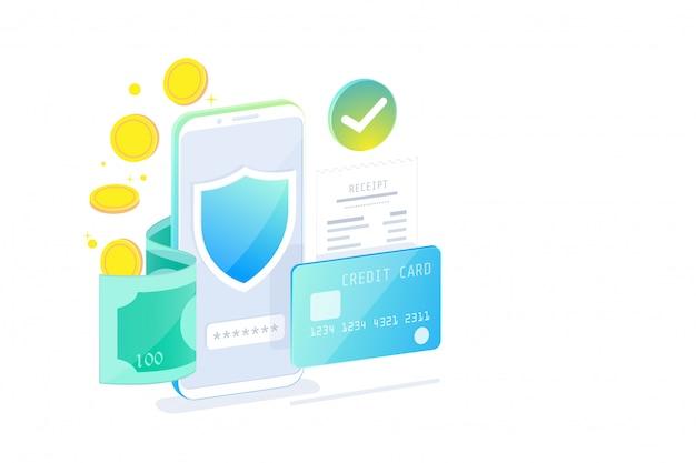 Concetto di design isometrico di mobile banking online e internet banking, società cashless, transazione di sicurezza tramite carta di credito. Vettore Premium