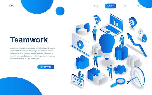 Concetto di design isometrico moderno di lavoro di squadra Vettore Premium