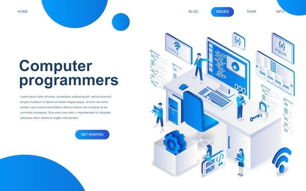 Concetto di design isometrico moderno di programmatori di computer Vettore Premium
