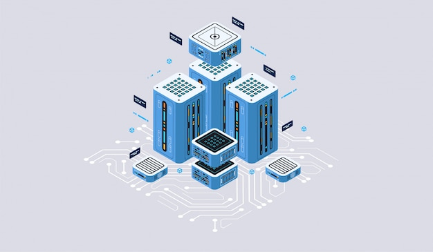 Concetto di design isometrico realtà virtuale e realtà aumentata. sviluppo e programmazione software. calcolo di big data center, tecnologia isometrica quantistica per computer Vettore Premium