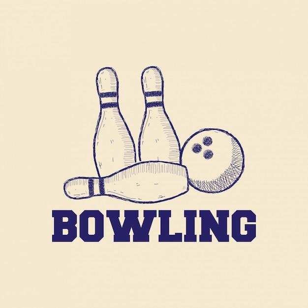 Concetto di design logo di bowling Vettore Premium