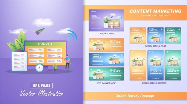 Concetto di design piatto del sondaggio online. la gente risponde alle domande del sondaggio online, survey research concept. Vettore Premium