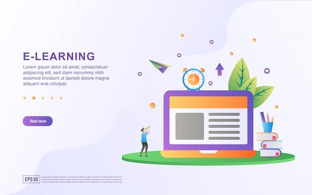 Concetto di design piatto e-learning. Vettore Premium