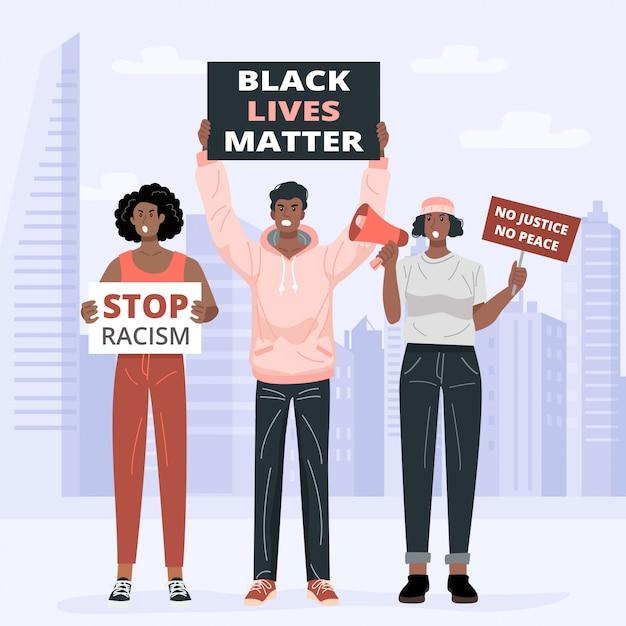 Concetto di design piatto, manifestanti black latter matter in possesso di cartelli. vettore Vettore Premium