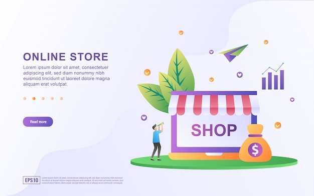 Concetto di design piatto negozio online. Vettore Premium