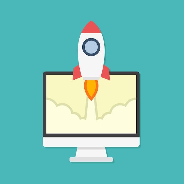 Concetto di design piatto per lanci di razzi e computer Vettore Premium