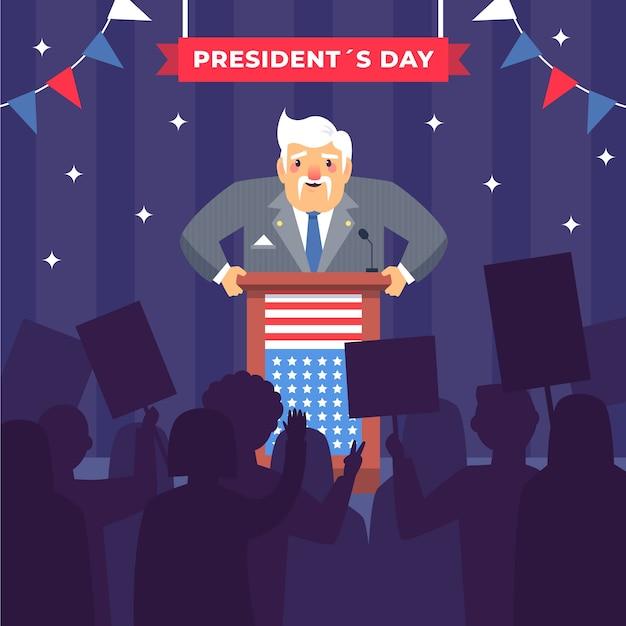 Concetto di design piatto presidente giorno Vettore gratuito