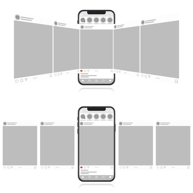 Concetto di design social media su uno sfondo bianco. smartphone con post interfaccia carosello sui social network. stile piatto moderno Vettore Premium