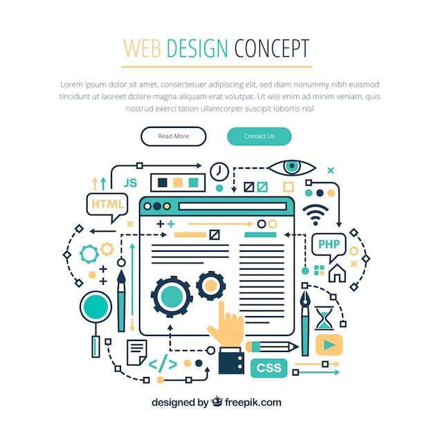 Concetto di design web moderno con stile disegnato a mano Vettore gratuito