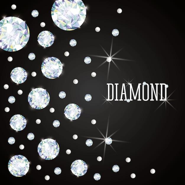 Concetto di diamante con disegno dell'icona Vettore Premium