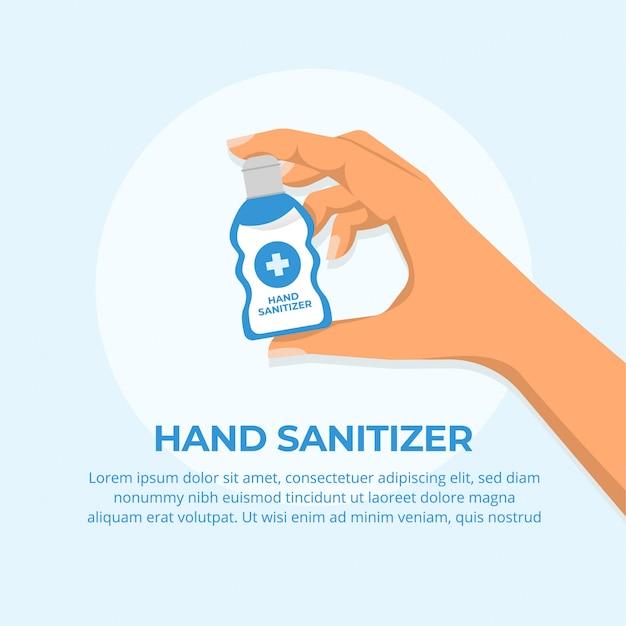 Concetto di disinfettante per le mani Vettore Premium