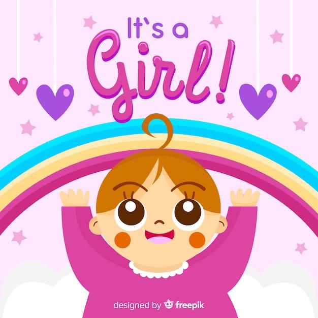 Concetto di doccia baby rosa per ragazza Vettore gratuito