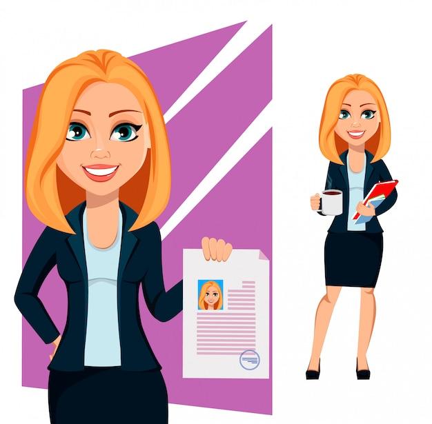 Concetto di donna moderna di affari Vettore Premium