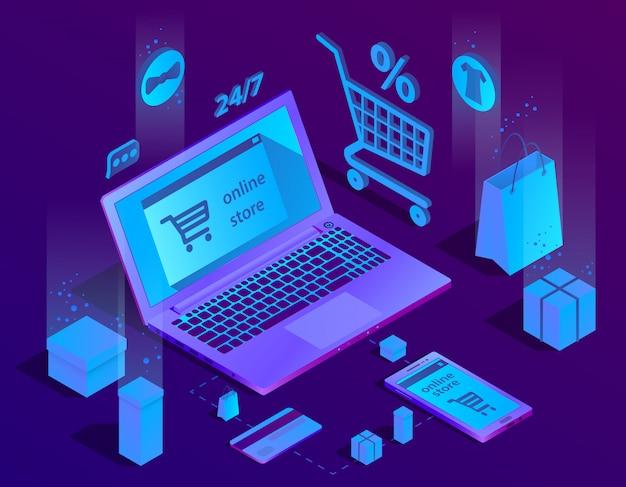 Concetto di e-commerce isometrica 3d, negozio online Vettore gratuito