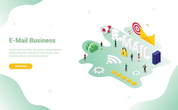 Concetto di e-mail o e-mail con grande parola per il design del sito web di atterraggio di progettazione sito web o web Vettore Premium