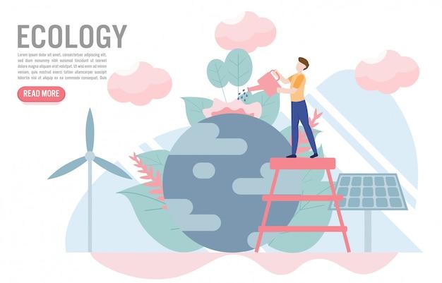 Concetto di ecologia con modello di carattere Vettore Premium