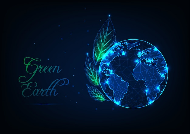 Concetto di ecologia della terra verde Vettore Premium