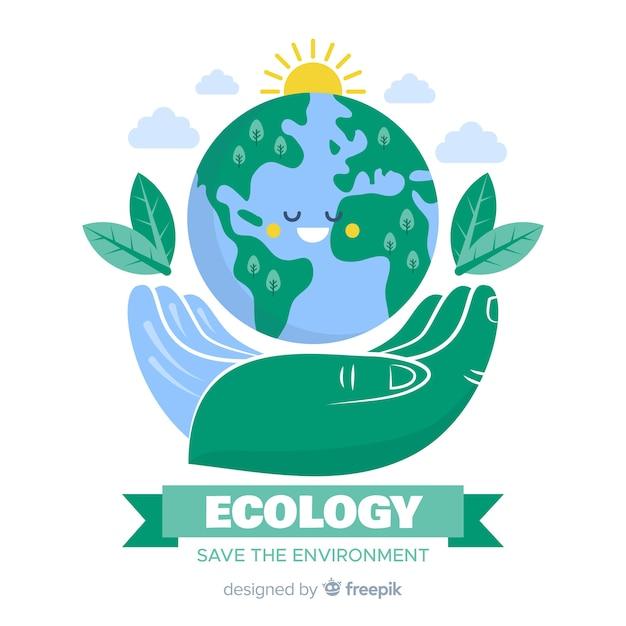 Concetto di ecologia disegnata a mano con elementi naturali Vettore gratuito