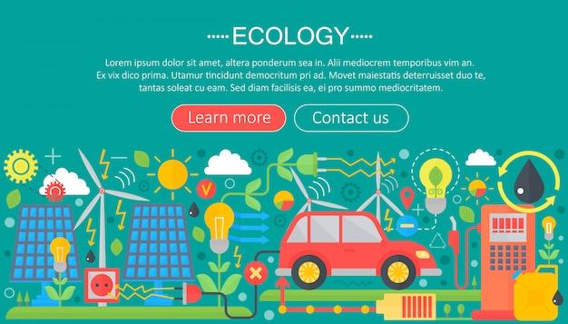 Concetto di ecologia infografica piatta Vettore Premium