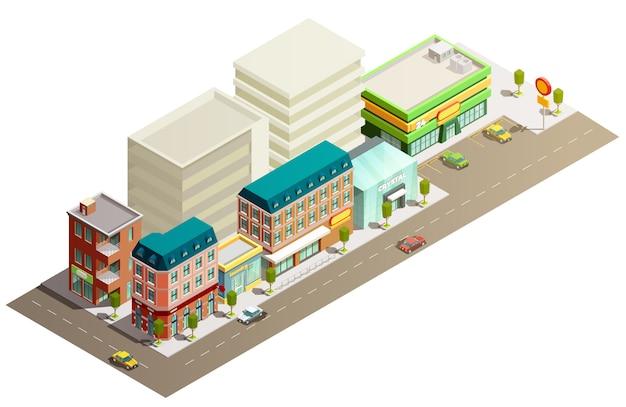 Concetto di edifici di negozio isometrica Vettore gratuito